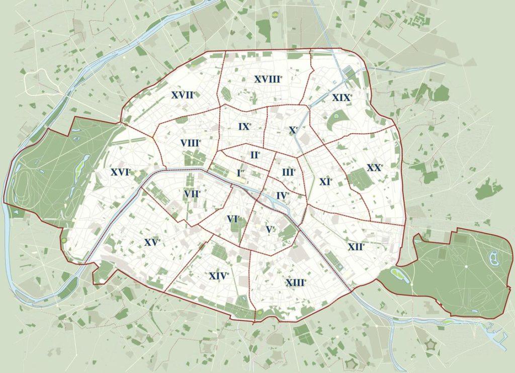Mapa de los distritos de Paris