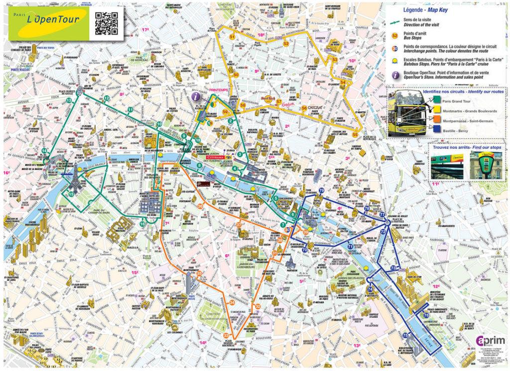 Mapa del Bús turístico de París